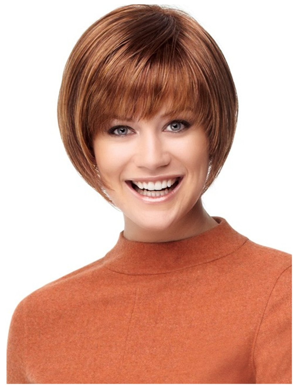 Fashion Sexy Bob peluca sintética para mujer marrón natural ...