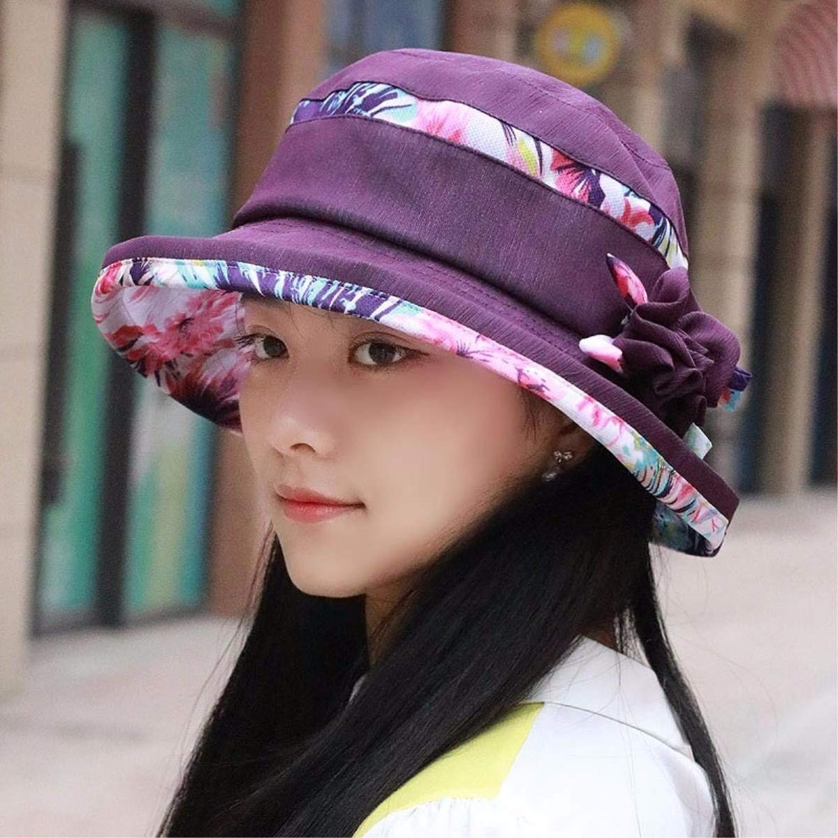Aoxishiye Cotton Hat, Floral Printed Cap with Brim for Vacation Summer Beach (Color : A, Size : M) by Aoxishiye