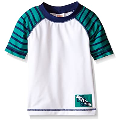 Gymboree Baby Boys' White Striped Raglan Sleeve Rashguard