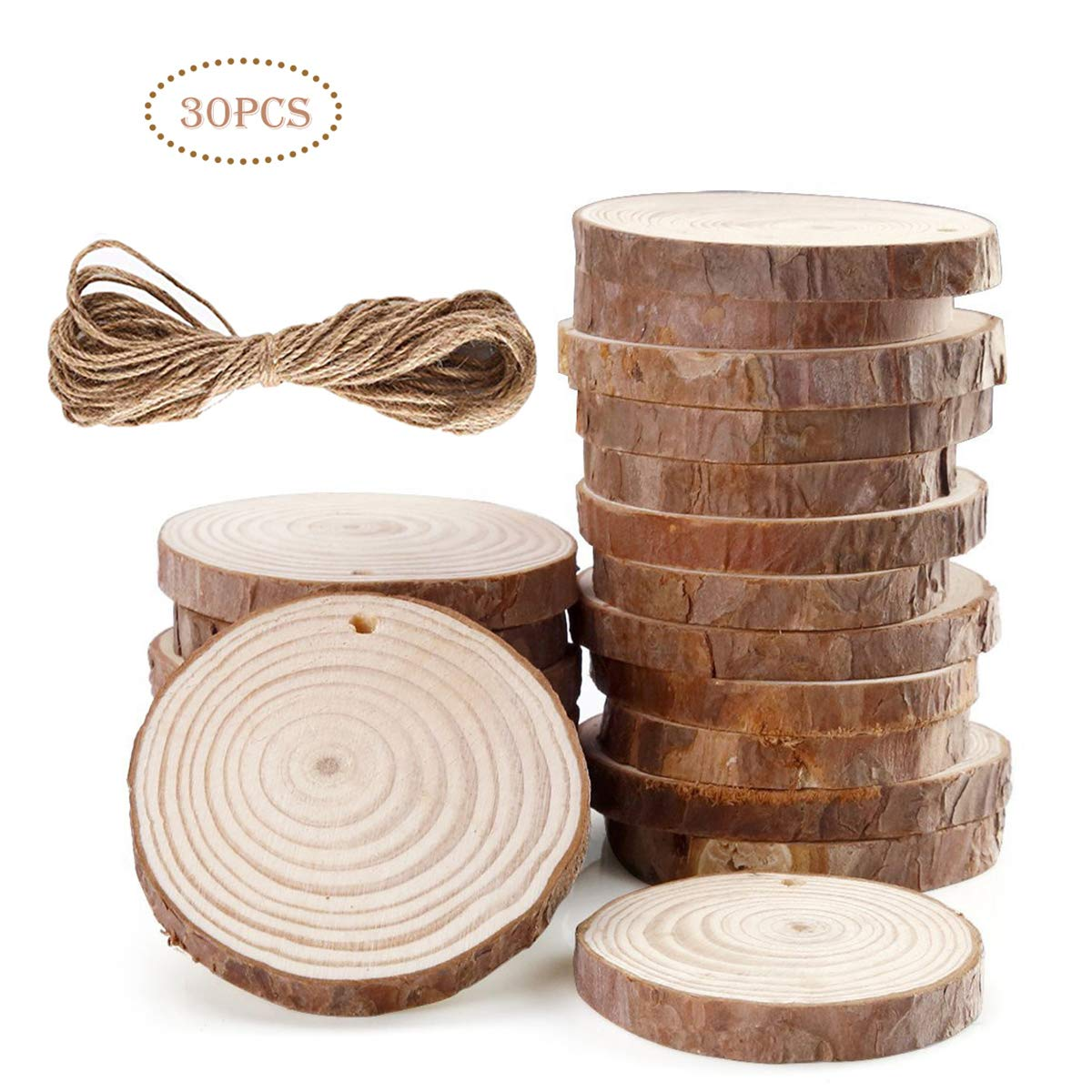 Wood Slices DIY Crafts Log Slices Discs 2.75-3.15//7cm-8cm with Holes Craft Wood and 10M Jute Twine for Birthday Party Table Numbers Wedding Kid Painting Decoration Gift Arts