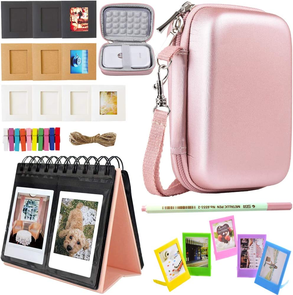 Accessories Bundle Compatible with HP Sprocket Portable Photo Printer(2nd Edition) - [HP Sprocket Case+Photo Album+Wall Hanging Frame+Table Frame+ Pens] - Rose Gold
