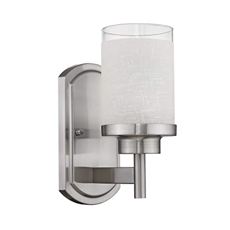 huge selection of 4a85c 98e2e Jazava Modern Bath Vanity Light Fixture, Industrial Bathroom Wall Sconces  for Farmhouse, Halls, White Linen Frosted Glass Shades in Brushed Nickel ...