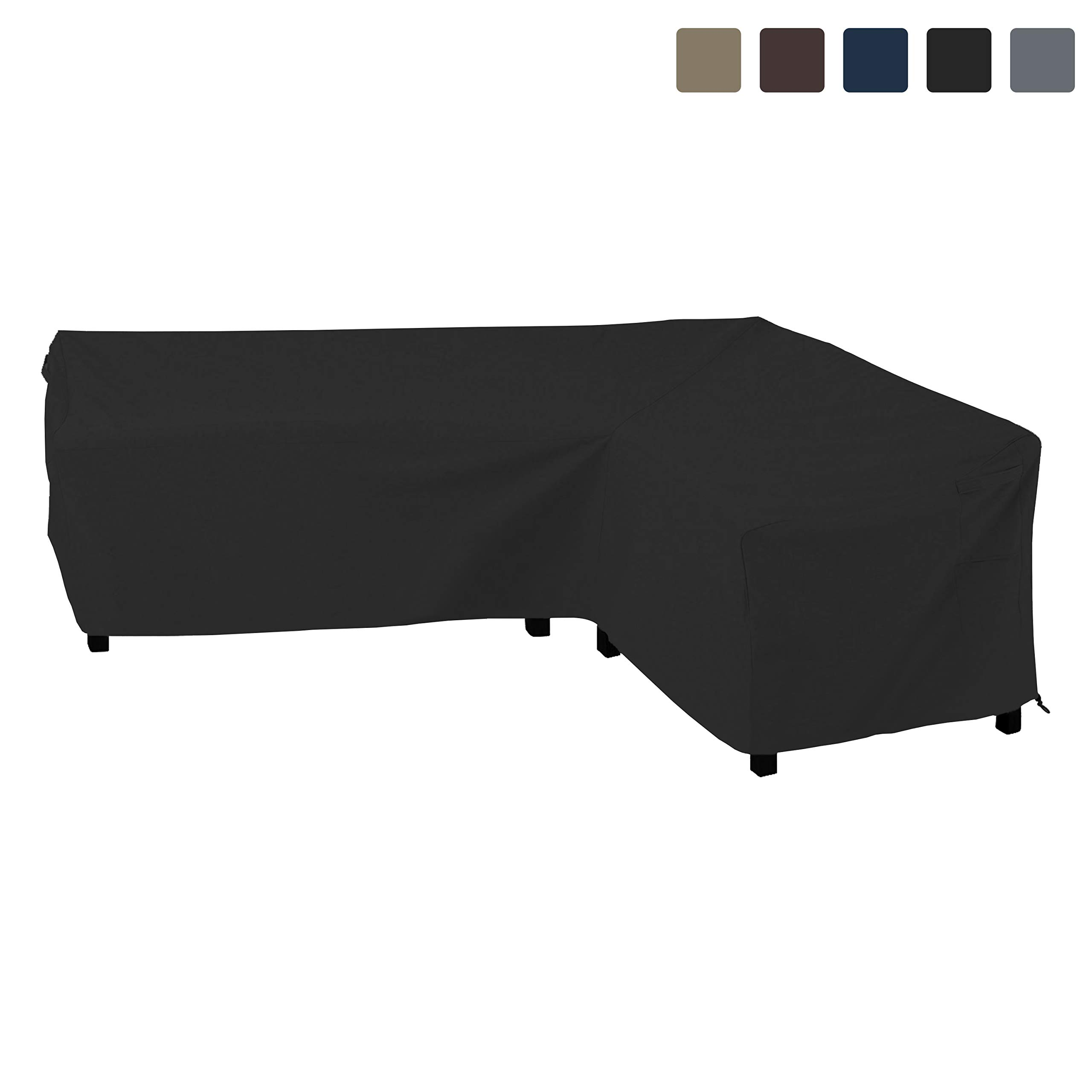 COVERS & ALL Patio Sectional Sofa Cover 12 Oz Waterproof - 100% UV & Weather Resistant PVC Coated 90'' x 120'' x 33''D x 35'' H - L Shape Sofa Cover for Indoor/Outdoor (Right Facing Sofa, Black)