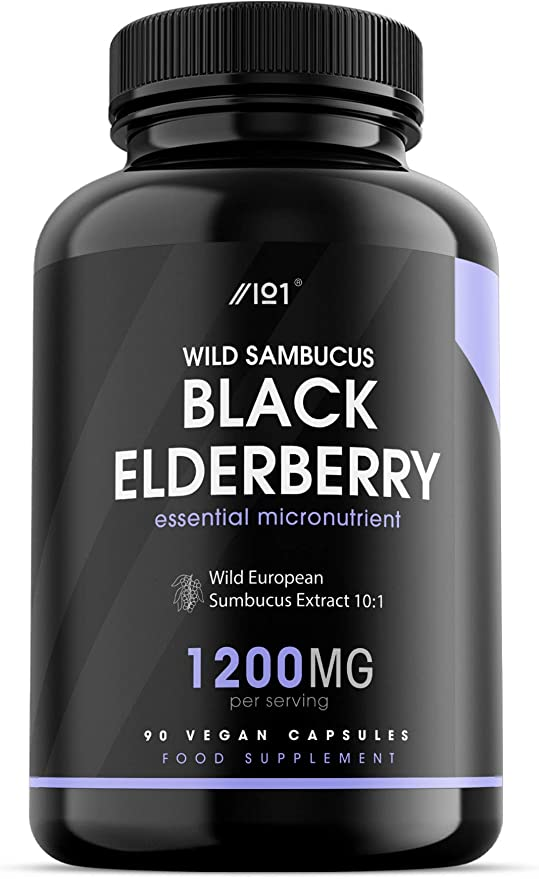 Wild Black Elderberry Extract Capsules - 1200mg - Wild European Sambucus Extract 10:1 - Vegan, Non-GMO, Kosher, Gluten Free. 90 Vegan Capsules.,ALPHA01