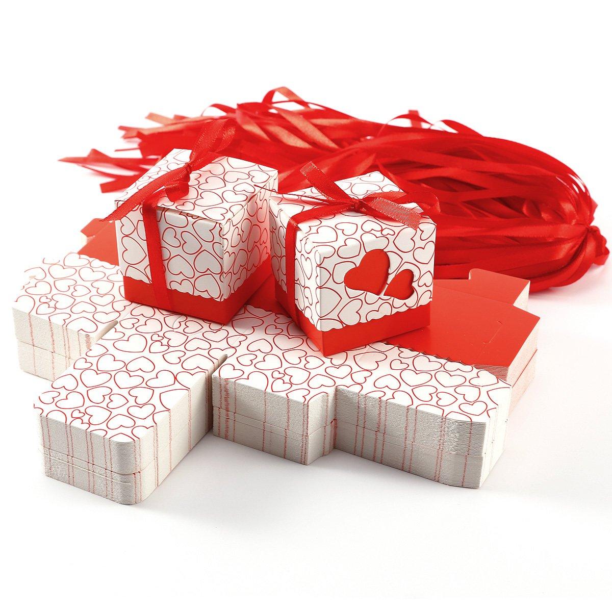 100x Boîte à dragées couvercle coeurs ruban mariage baptême rouge Générique