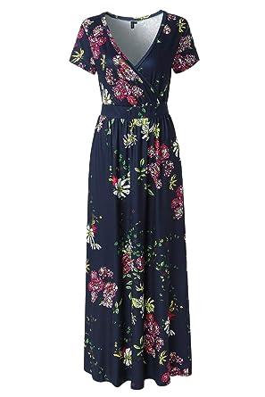 df4205f2fc50 Zattcas Womens V Neck Floral Maxi Dress Summer Casual Pocket Maxi Long Dress  (Small,