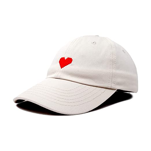 41666f3360a DALIX Pixel Heart Hat Womens Dad Hats Cotton Caps Embroidered Valentines  Beige