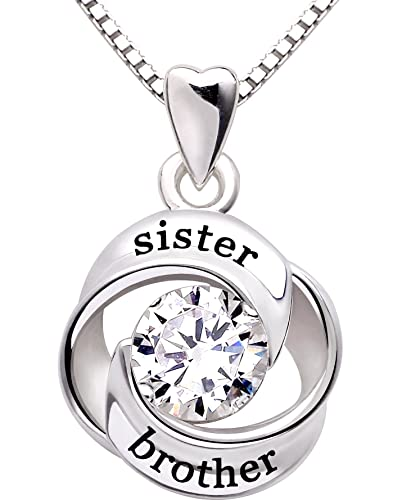 Amazon alov jewelry sterling silver sister and brother love alov jewelry sterling silver sister and brother love heart cubic zirconia pendant necklace aloadofball Image collections