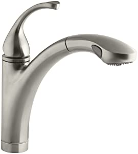 KOHLER K-10433-BN Forte Single Control Pull-out Kitchen Sink Faucet, Single Lever Handle, 1-hole or 3-hole installation, Brushed Nickel, 2-function Spray Head, Vibrant Brushed Nickel