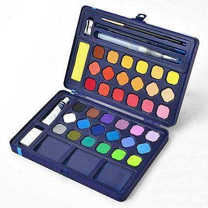 36 Colores Variados Pinturas de Acuarela con Estuche de Lata Juego de Pintura Para Colorear Pigmento No TóXico, Pintura Pincel Blanco Tubo de Pintura Esponja Absorbente Papel de Color de Agua: Amazon.es: