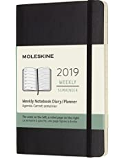 Moleskine Planner Diary 2019 12M Weekly Notebook Pocket Black Soft Cover, 9x14 cm