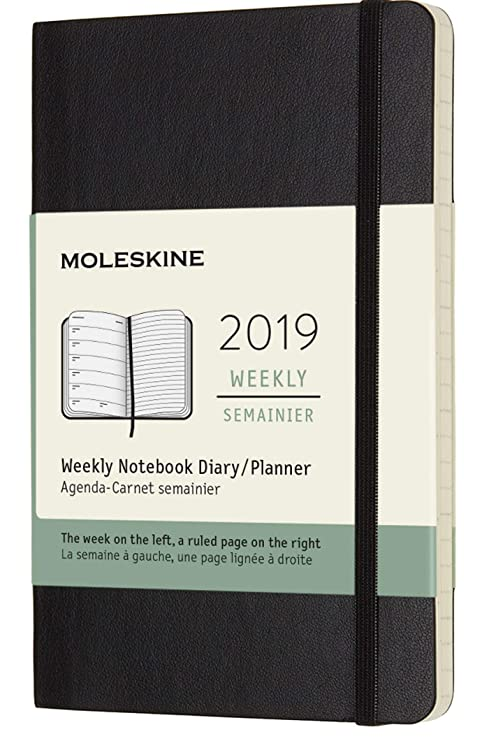 Moleskine Classic 12 Month 2019 Weekly Planner, Soft Cover, Pocket (3.5