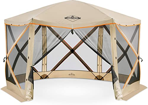 Hike Crew 6-Panel Pop-Up Screen House Gazebo 140×140 Inch Instant Setup 6-Sided Hub Tent UV Resistant SPF 50 Fits 9 People Heavy Duty 210D Material Includes Carry Bag Ground Stake