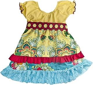 product image for Cheeky Banana Little Girls Bohemian Apron Dress Yellow/Multi