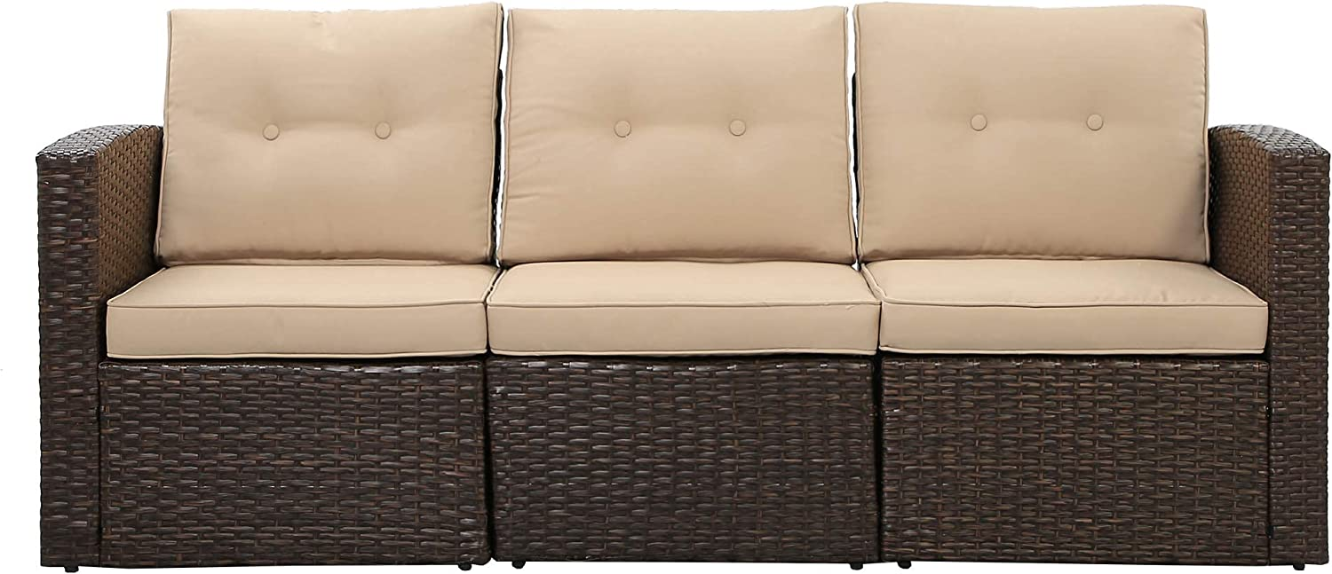 Outdoor Furniture, 3-Piece PE Rattan Wicker Patio Couch Furniture Sofa with 2 Corner Sofa 1 Middle Sofa, Lawn Balcony Poolside or Backyard (Brown/Beige)