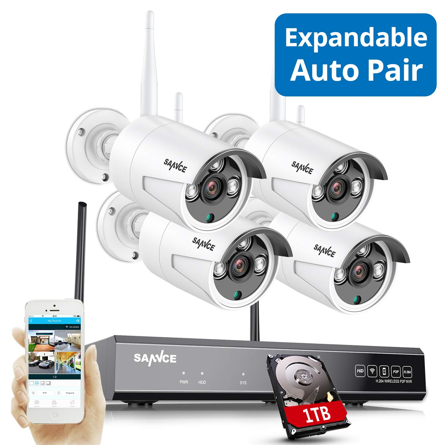 Update Strong Signal Version, Wireless Security Camera System, SANNCE 1080P 8CH NVR and 4 pcs 2MP IP66 Weatherproof Surveillance Cameras,Indoor/Outdoor with 100FT Night Vision,1TB Hard Drive Included by SANNCE