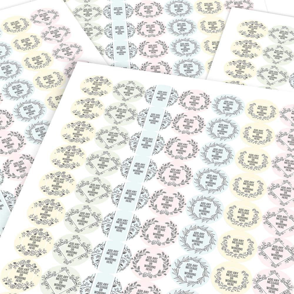 Children Teachers Graphic Flavour Gift Sticker Botanical Light Colours Personalised Parents Custom Sticker Labels 6 Stickers @ 9.5cm