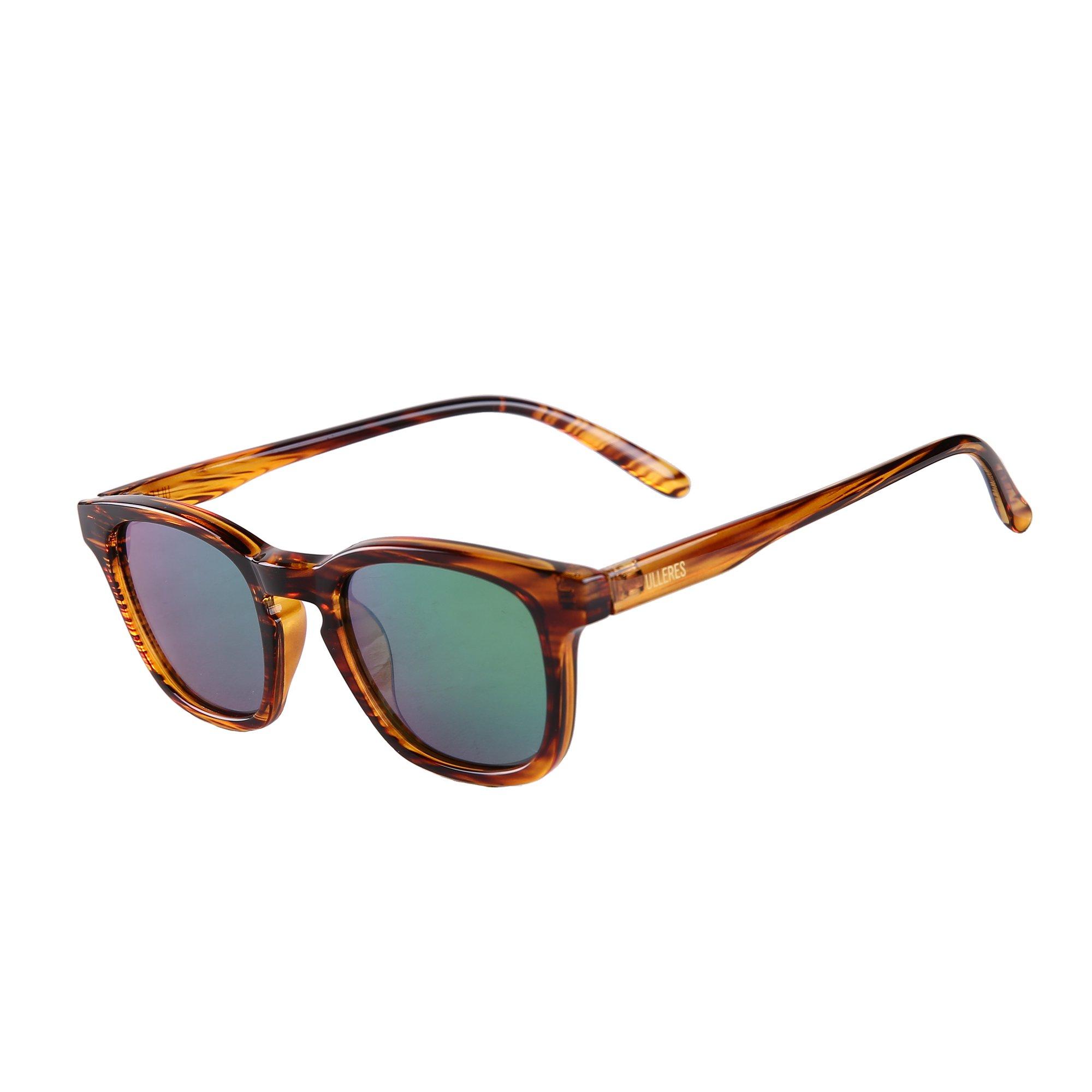ULLERES Kids Sunglasses Wayfarer Retro 80s Polarized Sunglasses for Kids Boys and Girls(Strip DEMI, 44)