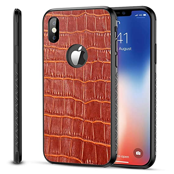 new arrival 2403d 93421 iPhone X Genuine Leather Case, OCUBE iPhone X Real Leather Cover Case with  Crocodile Pattern Back Cover for iPhone X 5.8