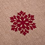 """SANNO 42"""" Snowflakes Christmas Tree Skirt Burlap Rustic Xmas tree Decorations Skirts Holiday Ornaments, Beige with Red Edge"""