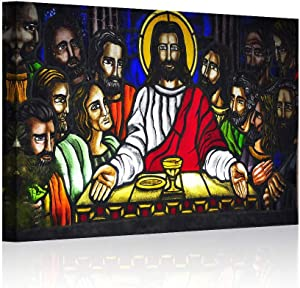 "Multi Panels The Last Supper Wall Art La Ultima Cena Pictures Painting on Canvas Christian Posters and Prints Artwork Modern Home Decor for Living Room Bedroom Office Framed Ready to Hang(12""x18""x1, Artwork-7)"