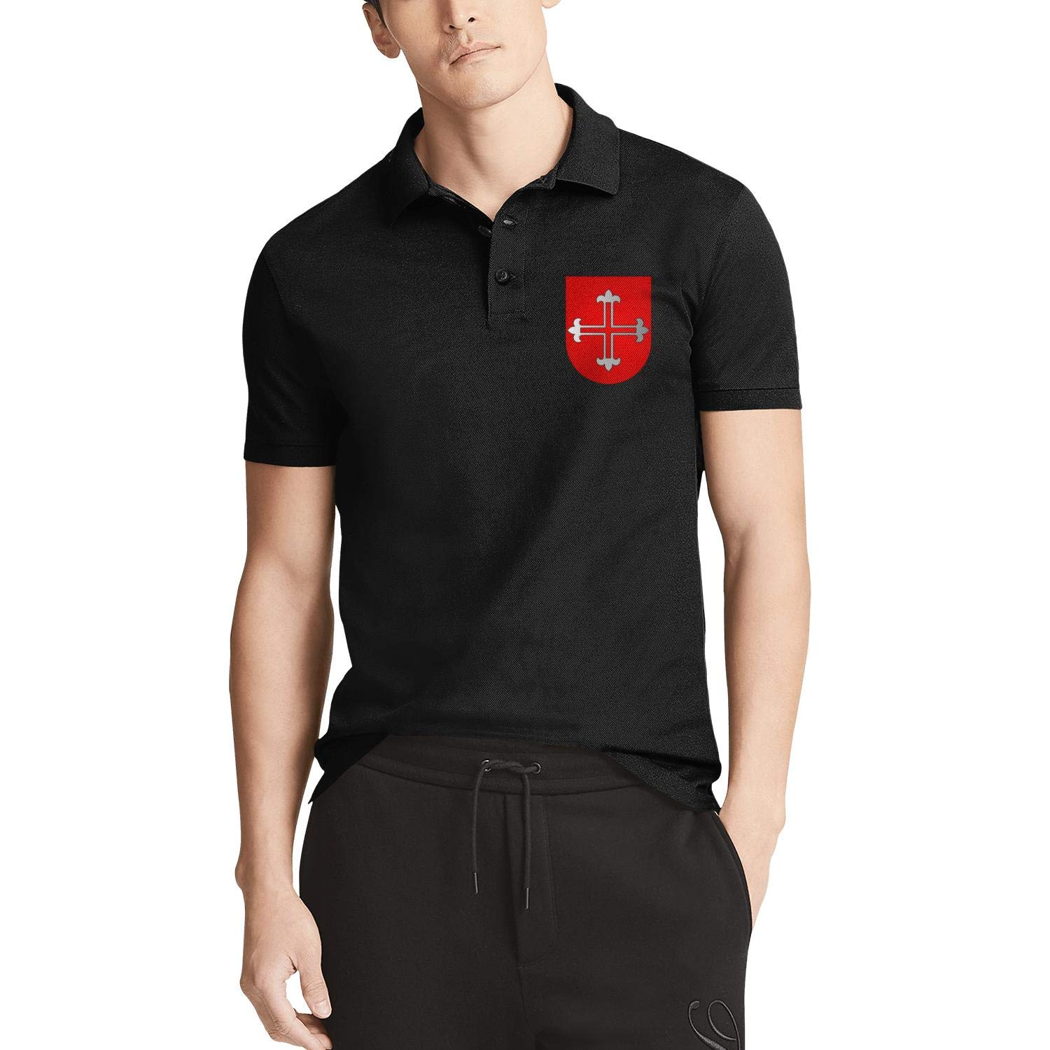 ZWZHI All Things Knights Templar Printed Mens Polo Shirt Party Cotton Shirt Top