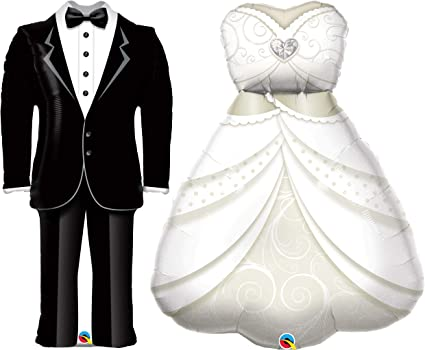 2PCS Foil Balloons Helium Marriage Groom Bride Tuxedo Dress Wedding Party Decor