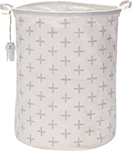 "Sea Team 19.7"" Large Sized Waterproof Coating Ramie Cotton Fabric Folding Laundry Hamper Bucket Cylindric Burlap Canvas Storage Basket with Stylish Grey Cross Design"