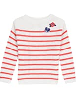 Nautica Little Girls Swing Sweater With Cable Knit Detail