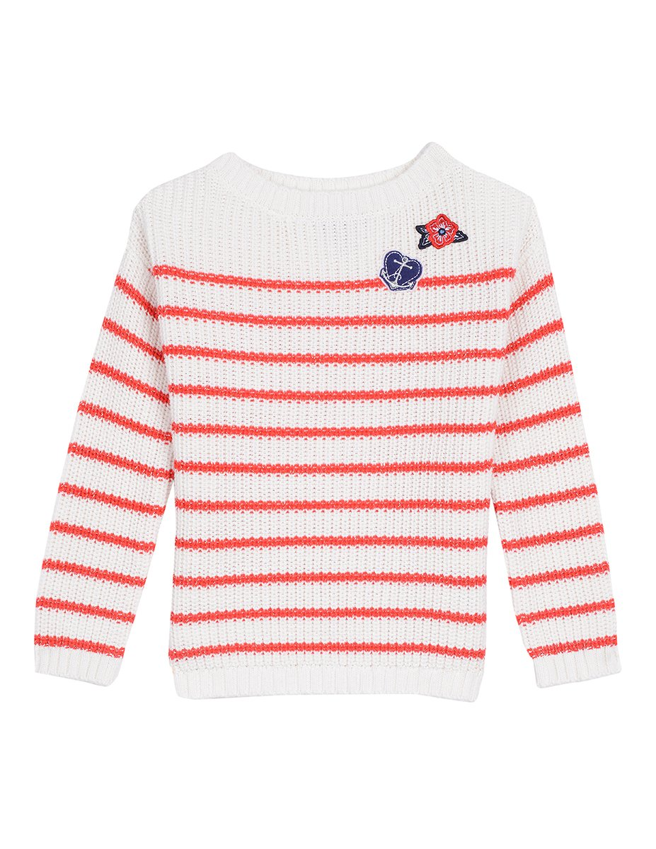 Nautica Girls' Little Ribbed Sweater with Metallic Stripe and Patches, Bright Red, 4