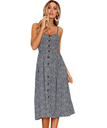 104b923b91d Backless Strappy Dresses Womens Spaghetti Strap Button Down Swing Summer  Midi Dress Sleeveless V Neck Floral