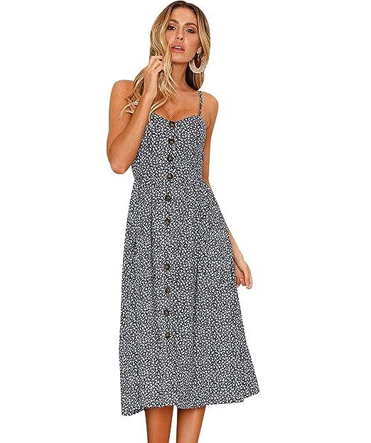 Vestidos de Verano Midi Mujer Vestido de Diario Boho Estampados Flores Casuales Vestidos Playeros Botón Cuello