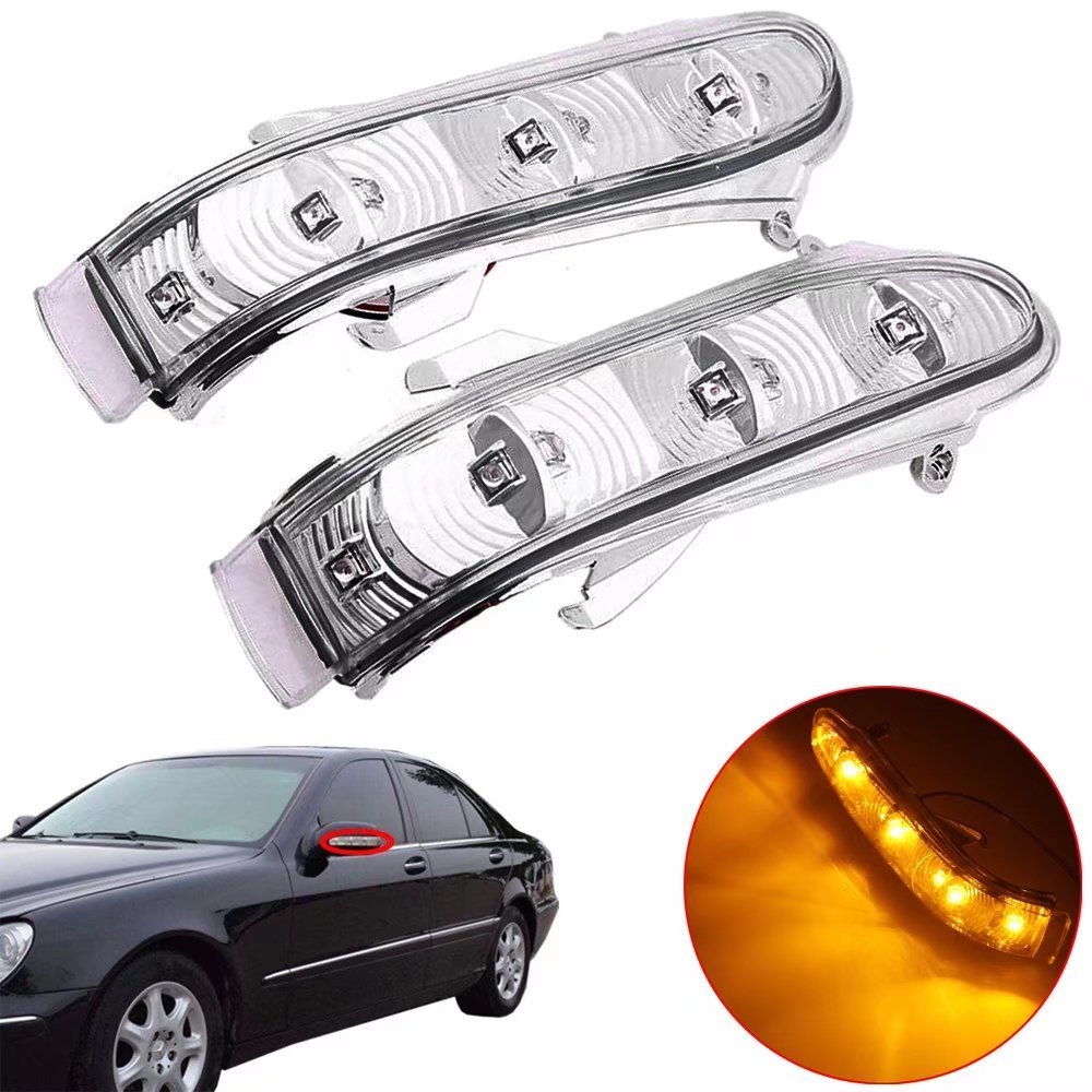 1Pair Rearview Side Mirror Turn Signal Indicator Smoke Lens Replacement for Mercedes Benz W215 CL215 W220 99-03