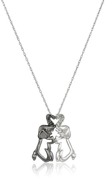 Amazon 10k gold black and white elephant couple diamond pendant 10k gold black and white elephant couple diamond pendant necklace 04 cttw i j aloadofball Images