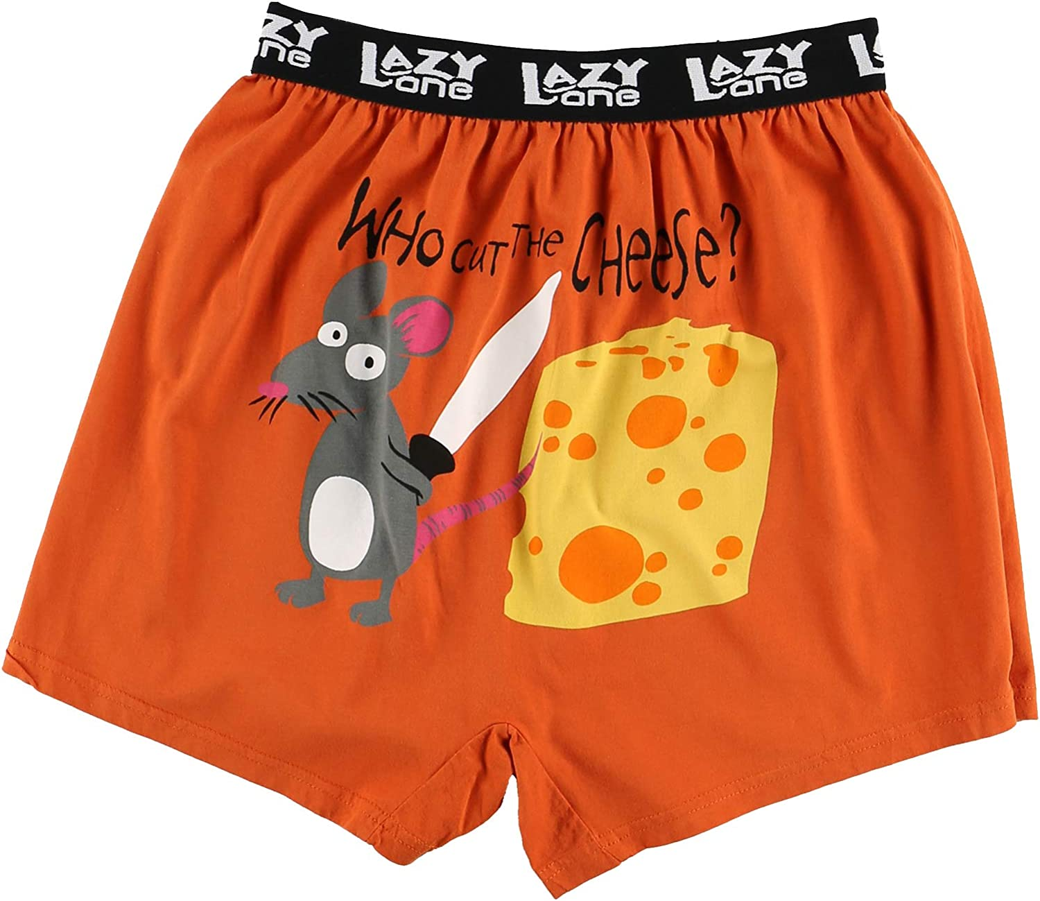 Funny Mens Boxers Small Who Cut The Cheese Soft Comical Boxers for Men by LazyOne