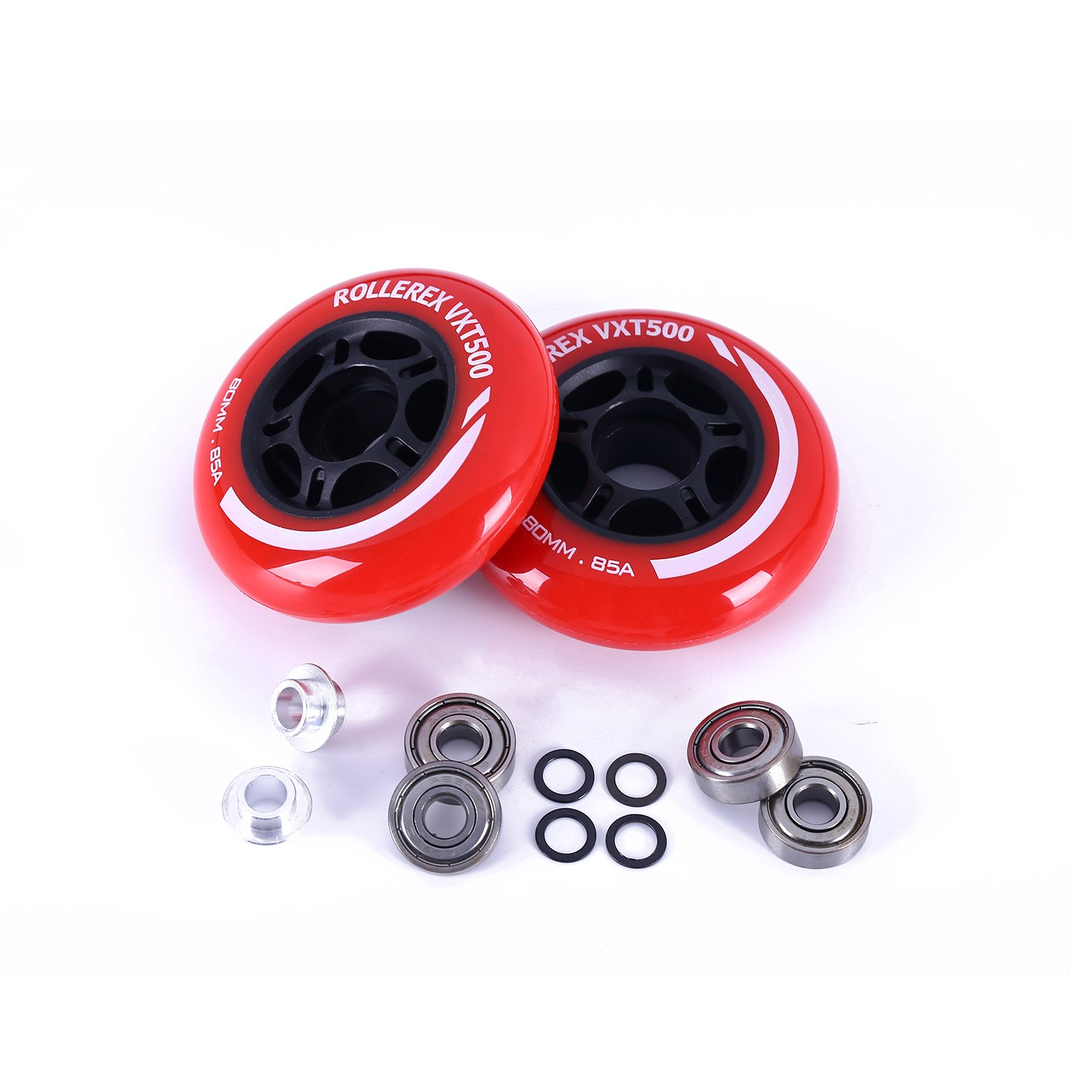 Rollerex VXT500 Inline Skate Wheels (2-Pack w/Bearings, spacers and washers) (Rocket Red, 80mm) by Rollerex