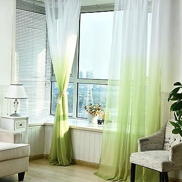 Quartly Modern Hochzeit Dekoration Tüll Vorhänge, Schlafzimmer Farbverlauf  Rampe Vorhang Garn Für Wohnzimmer Fenster Grün