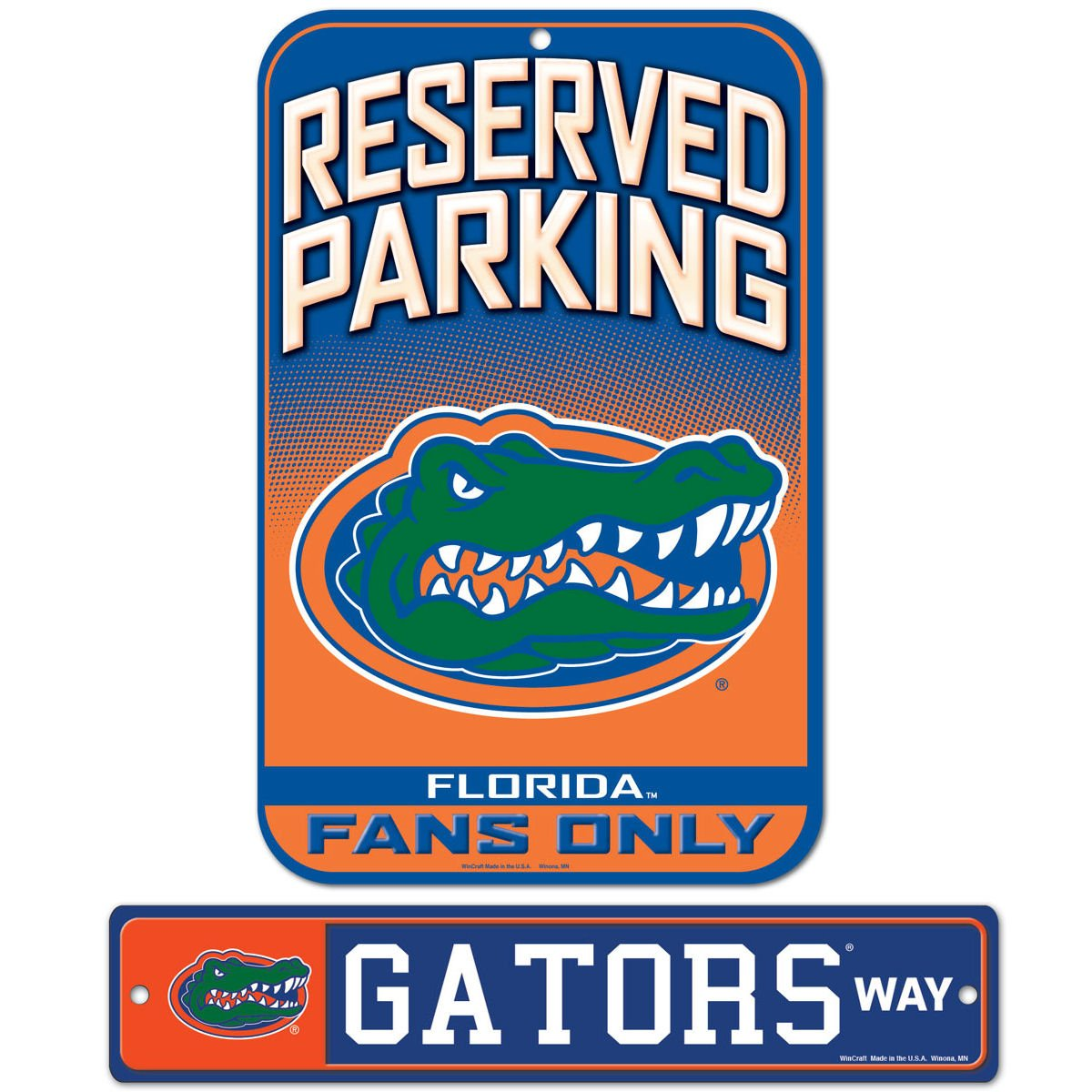 WinCraft Bundle - 2 items: University of Florida Plastic Street Sign and Reserved Parking Sign