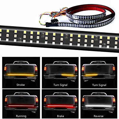 432LEDS Triple Row Tailgate Light Bar, 60 Inch Tail Strip Light Bar for Trucks Pickup Trailer SUV RV VAN, with 4-Way Flat Connector Wire - Red Brake White Reverse Amber Turn Signal Strobe Light: Automotive