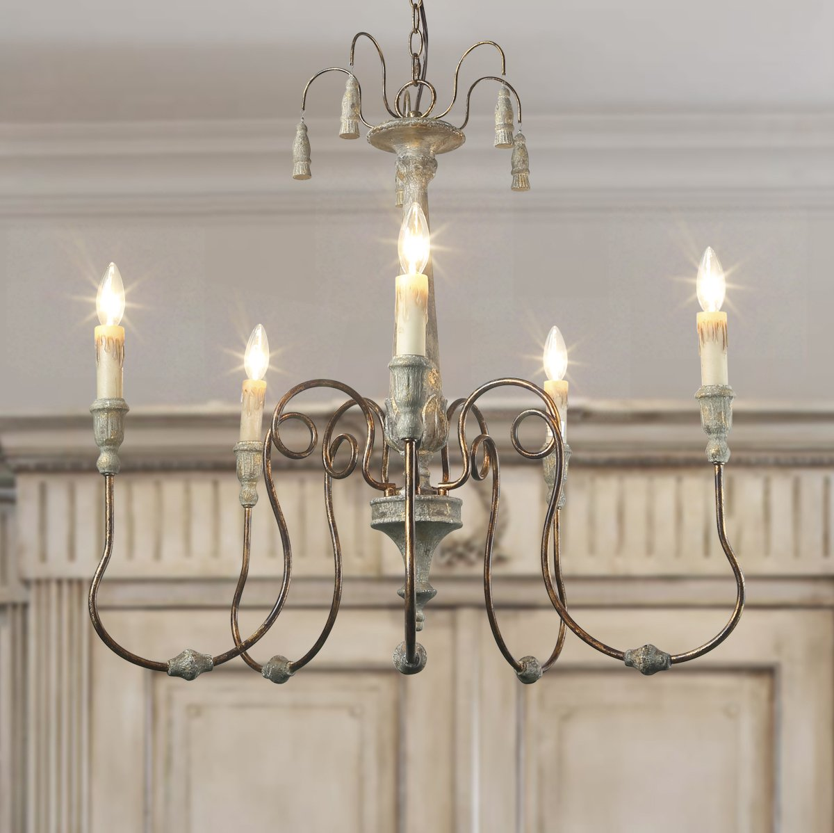 LALUZ 5-Lights Shabby Chic French Country Resin Chandelier Lighting Rustic Chandeliers Pendant Lights