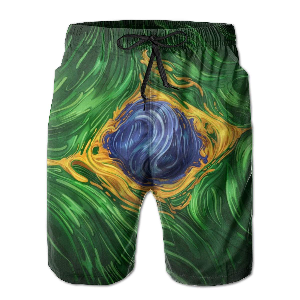 INWANZI Mens Beach Shorts Swim Trunks Quick Dry Bathing Suit Brazil Flag Psychedelic