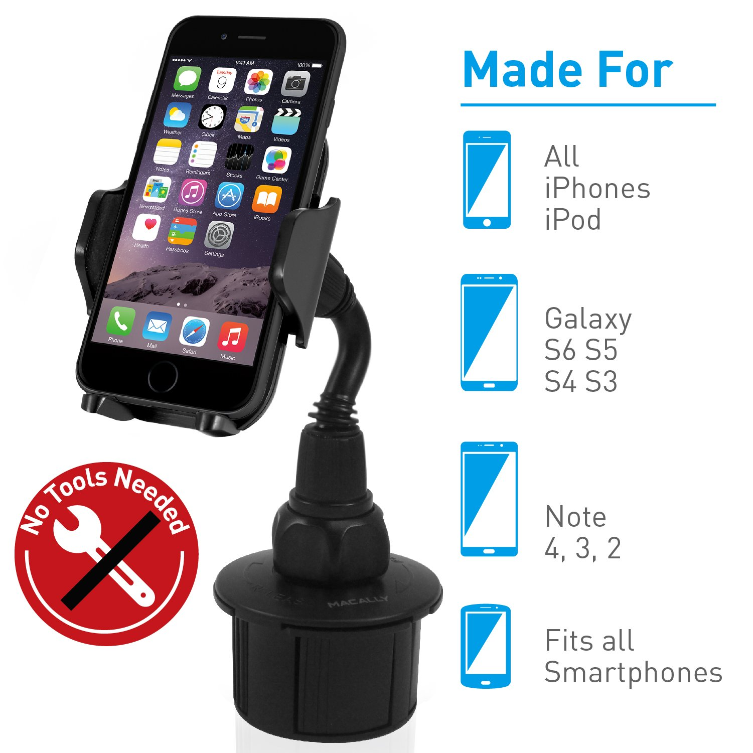 Macally Adjustable Automobile Cup Holder Phone Mount for iPhone Xs XS Max XR X 8 8+ 7 7 Plus 6s Plus 6s SE Samsung Galaxy S10 S10E S9 S9+ S8 S7 Edge S6 Note 5, Xperia, iPod, Smartphone, GPS (MCUPMP) by Macally