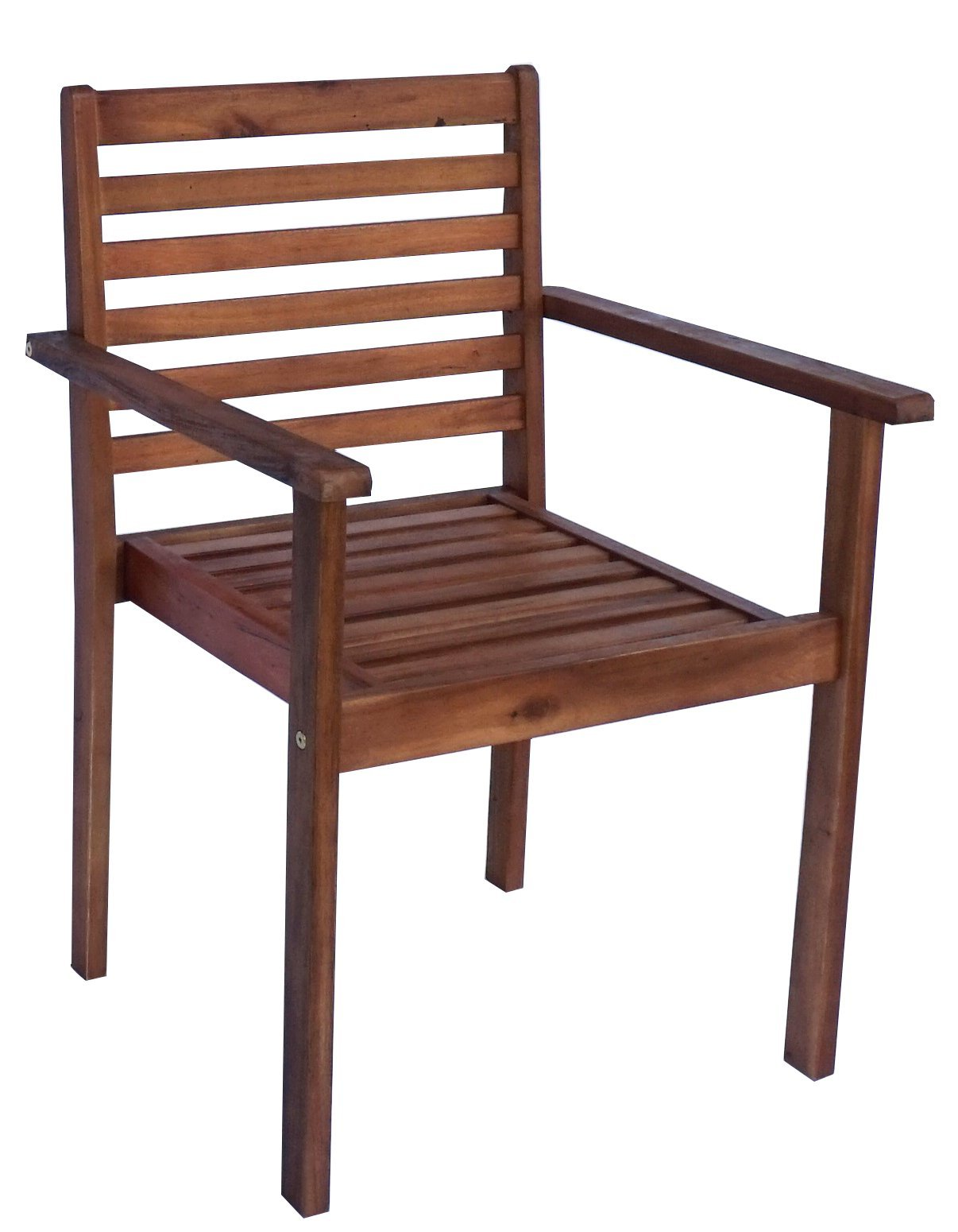 "Zen Garden Eucalyptus Stackable Patio Outdoor Arm Chair, 23.25"" x 23.25"" x 34"", Natural Wood Finish, Set of 4 Chairs - Set of 4 stackable arm chairs. Chairs are 23"" deep and 34"" high Light assembly required Chairs are stackable, strong and durable. Great for patios and outdoor seating - patio-furniture, patio-chairs, patio - 71u0kMHnndL -"