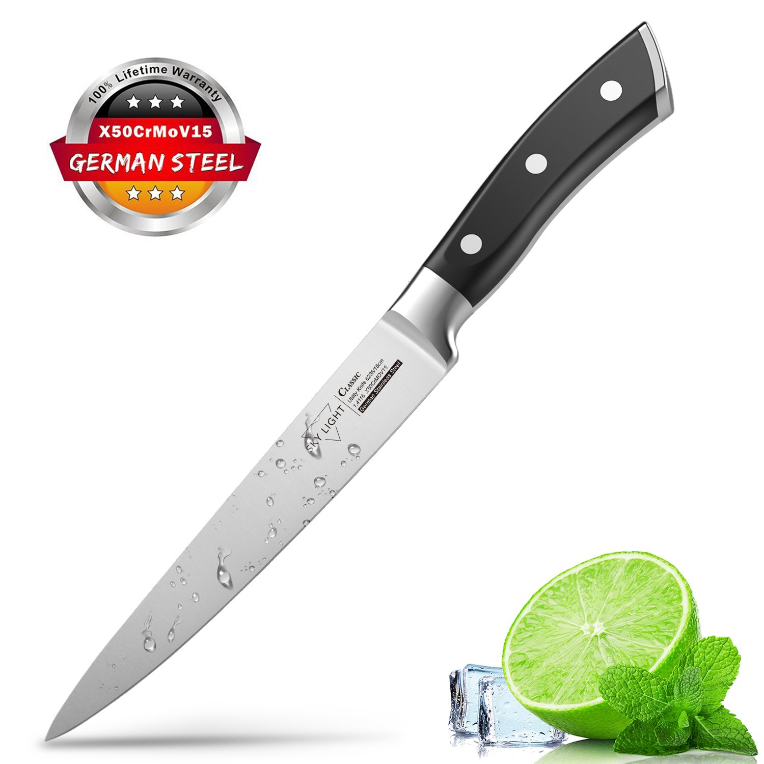 Chef Knife Kitchen Utility Knife 6 inch Vegetable Knife High Carbon Stainless Steel Forged Blade Ergonomic Handle Non Slip Cutlery