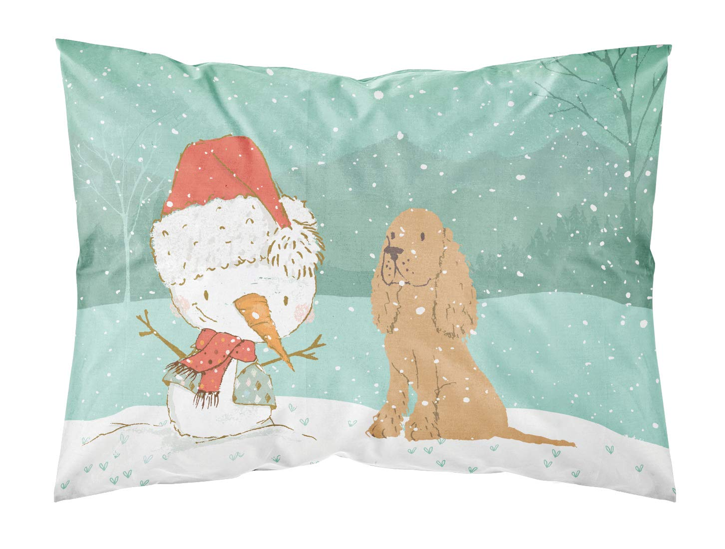 Carolines Treasures Tan Spaniel Snowman Christmas Fabric Standard Pillowcase Multicolor