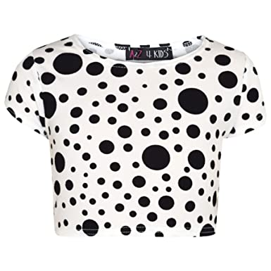 00d2633a47 Girls Dresses Kids Black Polka Dot Print Crop Top Legging Midi Skater Dress  7-13