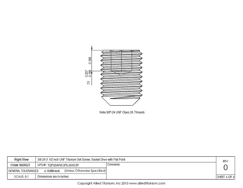 Socket Drive with Flat Point 1034340001 CP Inc Grade 2 Pack of 10 Allied Titanium 0020527, 3//8-24 X 1//2 UNF Titanium Set Screw
