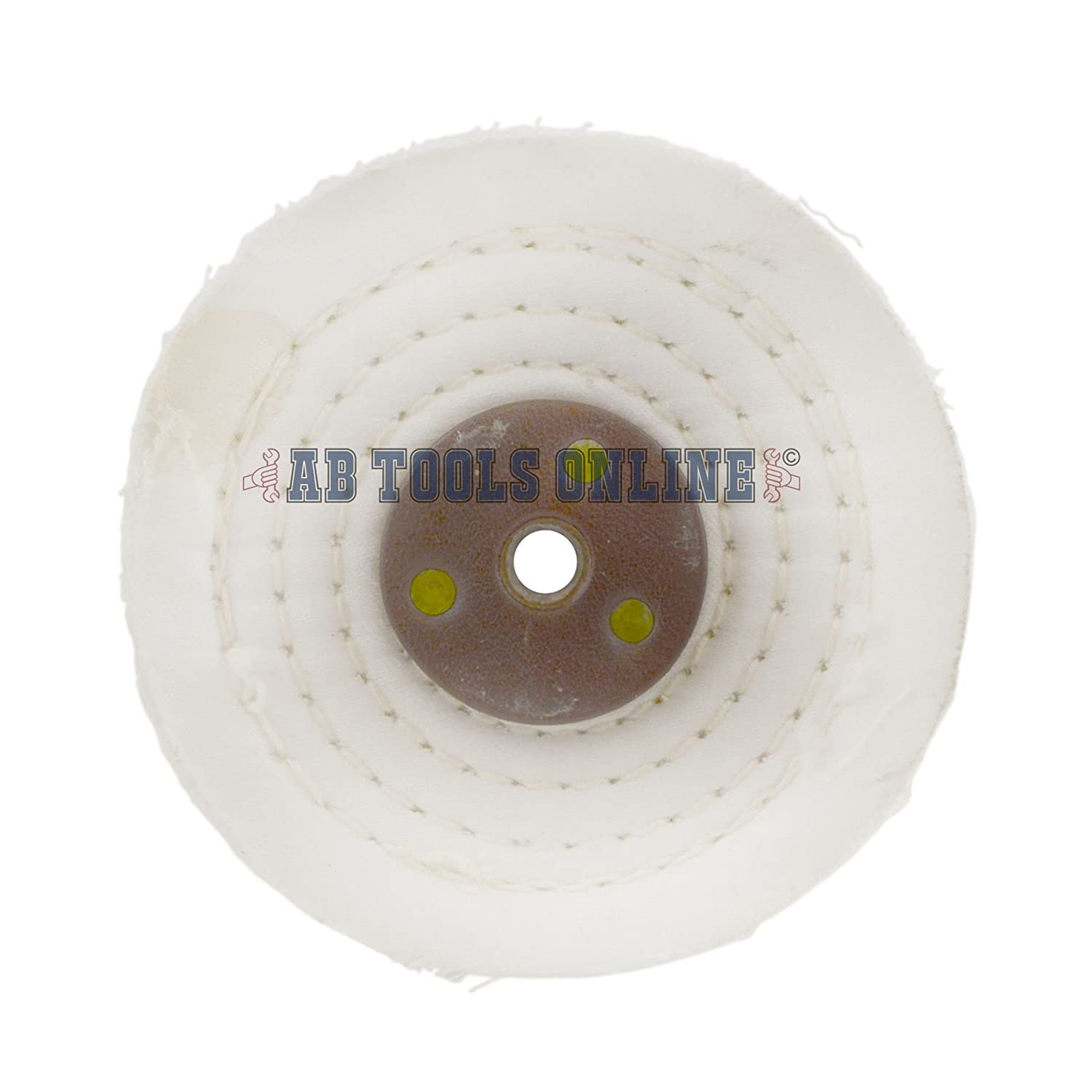 White Close Stitched Metal Polishing Buffing Mop 4' x 0.5' 1 section 2nd Stage AB_Tools