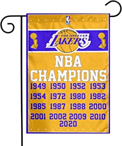 JIHUILAI Lakers Championship Garden Flag- Polyester Embroidered 12X18 inch Lakers Garden Flags- 18inch Home Garden Flag Commemorating The Traditional Giants-Lakers and Legendary Superstar Kobe