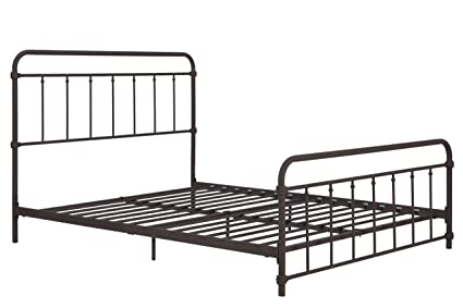 Amazon.com: Wallace Metal Bed Frame in Dark Bronze Vintage Headboard ...